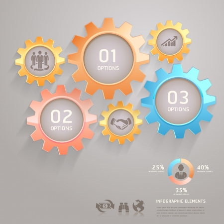 gear wheels: Business Team Gears Infographics Number Options for Banner   Card  Vector illustration