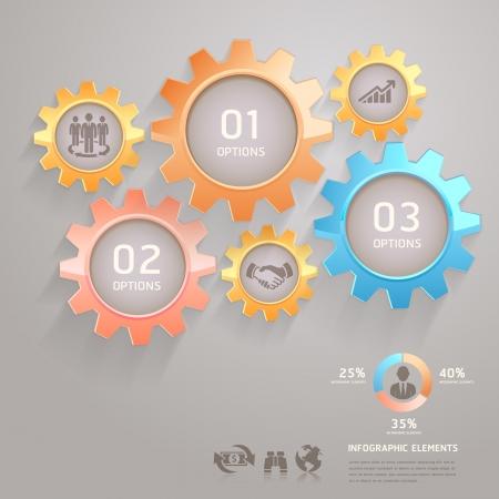 industrial engineering: Engranajes Business Team Infograf�a N�mero opciones para ilustraci�n vectorial Banner Card Vectores