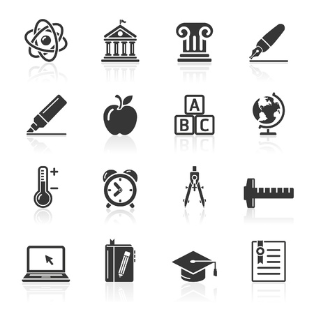 study icon: Iconos de Educaci�n establece dos iconos de vector M�s en mi cartera