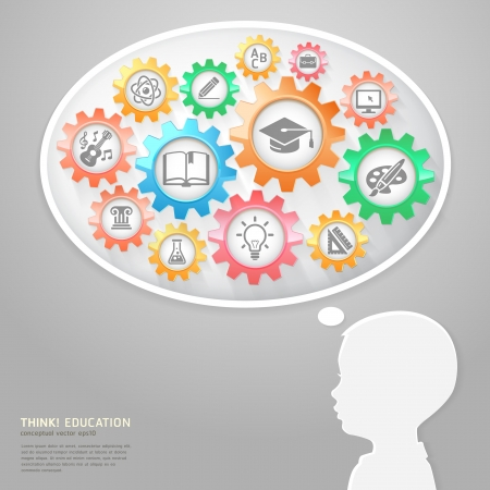 e learn: Education Thinking Concept Illustration