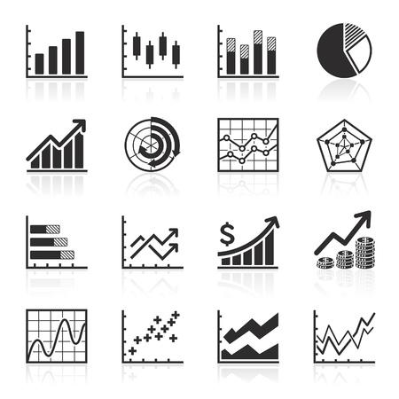 grafica de pastel: Negocios iconos - Infografía de gráficos vectoriales