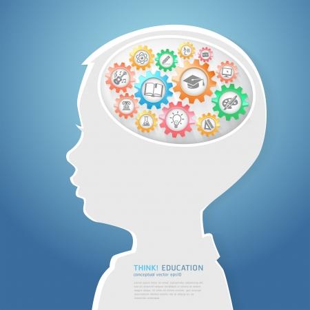 cerebros: Educaci�n pensamiento de los ni�os Concepto Piense con iconos de educaci�n en la ilustraci�n vectorial Engranajes Vectores