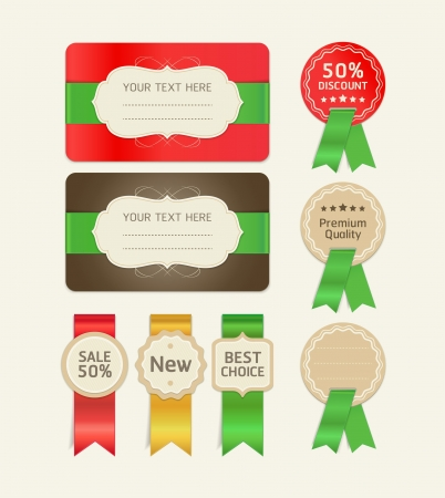 Set of promotion cards design with ribbons. Vector illustration Stock Vector - 16400356