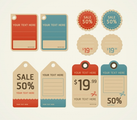 red price tag: Price tags retro color design, vector illustration.