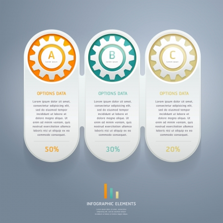 gears: Engranajes Color Número Infografía opciones de banners y tarjetas. Ilustración vectorial