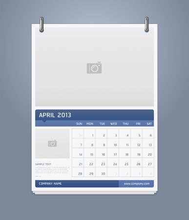 Clean calendar 2013 template design  Vector illustration  Stock Vector - 16560136