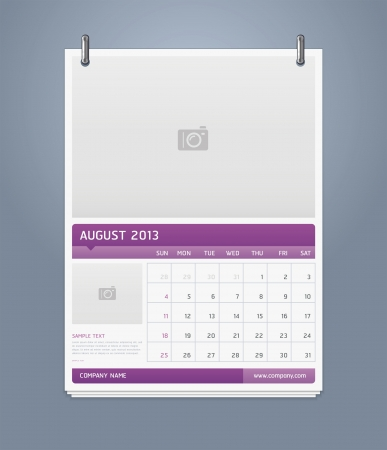 Clean calendar 2013 template design  Vector illustration  Vector