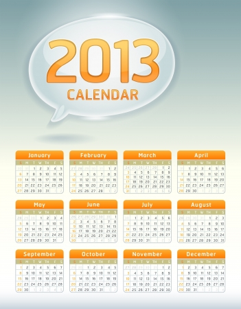 Clean calendar 2013 template, bubble conceptual design  Vector illustration  Vector