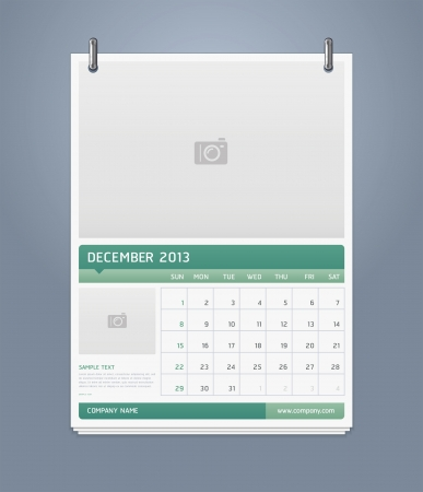 Clean calendar 2013 template design  Vector illustration  Stock Vector - 16560156