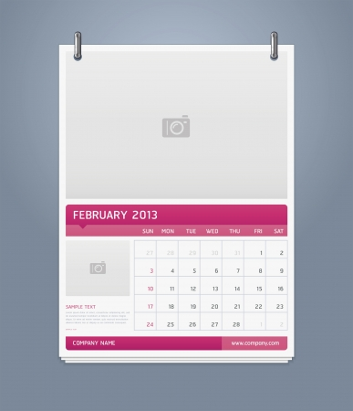 Clean calendar 2013 template design  Vector illustration  Stock Vector - 16560139