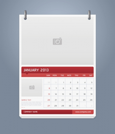 Clean calendar 2013 template design  Vector illustration Stock Vector - 16560152