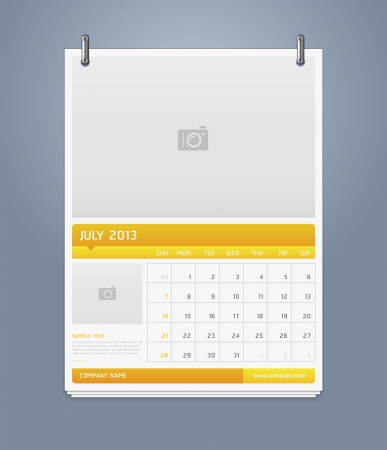 Clean calendar 2013 template design  Vector illustration Stock Vector - 16560128