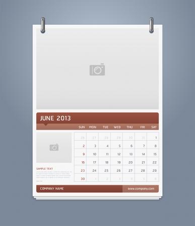 Clean calendar 2013 template design  Vector illustration  Stock Vector - 16560127
