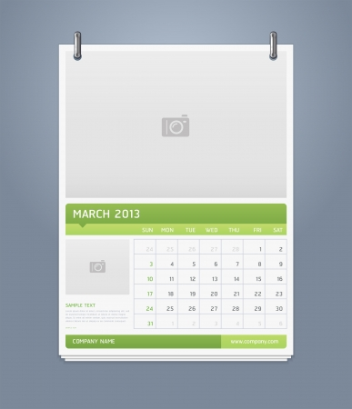 Clean calendar 2013 template design  Vector illustration  Stock Vector - 16560142