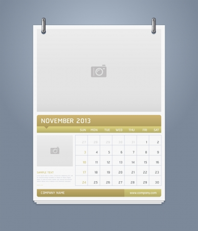 Clean calendar 2013 template design  Vector illustration  Stock Vector - 16560133