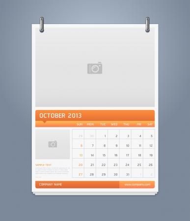 Clean calendar 2013 template design  Vector illustration  Stock Vector - 16560144