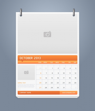 Clean calendar 2013 template design  Vector illustration Stock Vector - 16560144