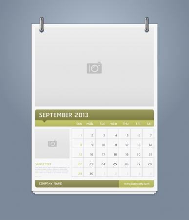 Clean calendar 2013 template design  Vector illustration Stock Vector - 16560157
