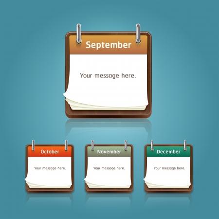 note pad: Clean calendar 2013 template, note pad conceptual design set3  Vector illustration