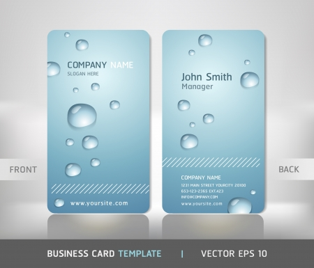 water liquid letter: Business Card with water drop  Vector illustration  Illustration