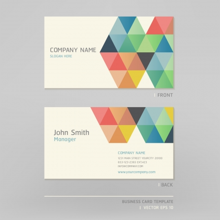 triangle pattern: Business card abstract background  Vector illustration