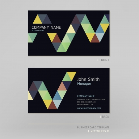 triangle objects: Business card abstract background  Vector illustration
