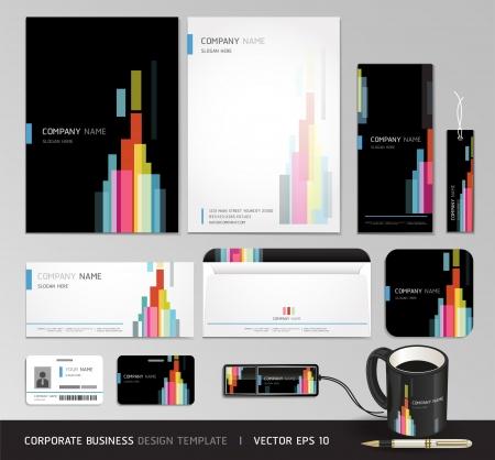 papírnictví: Corporate identity obchodní scénografie Abstraktní pozadí vektorové ilustrace Ilustrace