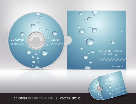 dvd: Cd Cover-Design mit Wassertropfen Vektor-Illustration Darstellung Illustration