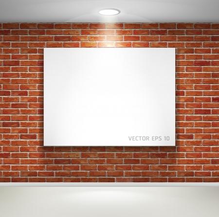 Galería de exposiciones marcos interiores con imágenes en la pared de ladrillo ilustración