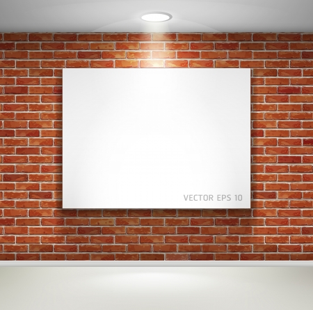 Gallery exhibition interior  Picture frames on brick wall  illustration