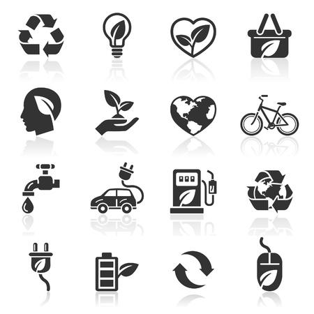 eco car: Ecologie icons Stock Illustratie