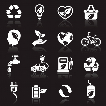batteries: Ecology icons  Illustration