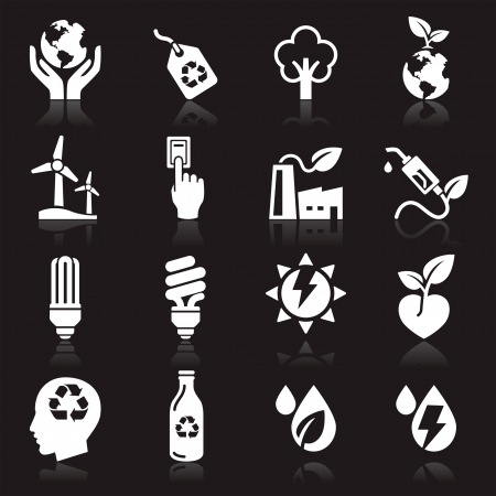 windmolens: Ecologie icons Stock Illustratie