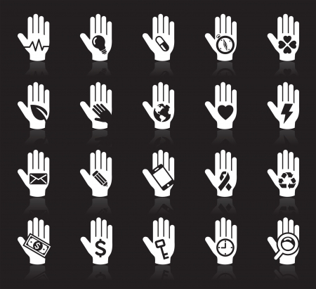 earth in hand: Hand concept icons