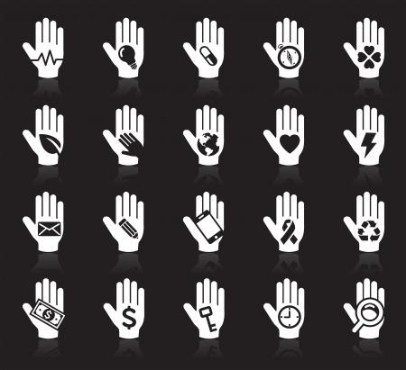 cuore nel le mani: Mano concetto icone Vettoriali