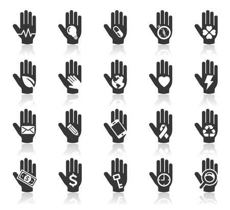 globe hand: Hand concept icons