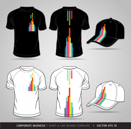 black shirt: Corporate Identity Business Set  T-shirt and cap Design Template