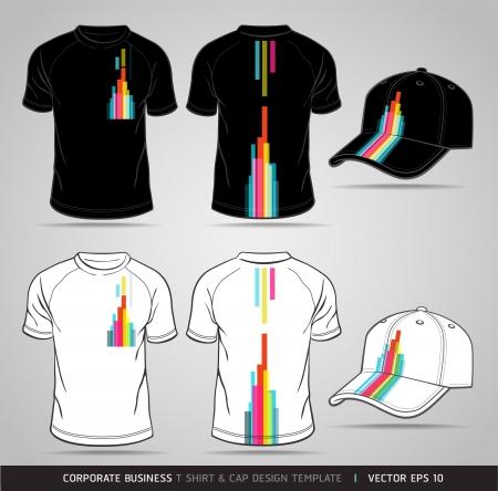 uniformes de oficina: Negocios identidad corporativa Conjunto camiseta y gorra Plantilla de Diseño
