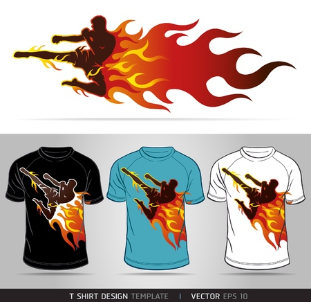 Boxing sport with fire  T-shirt design  Vector