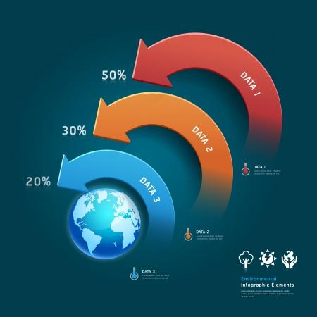 Bescherming van het milieu info grafische elementen met globale kaart