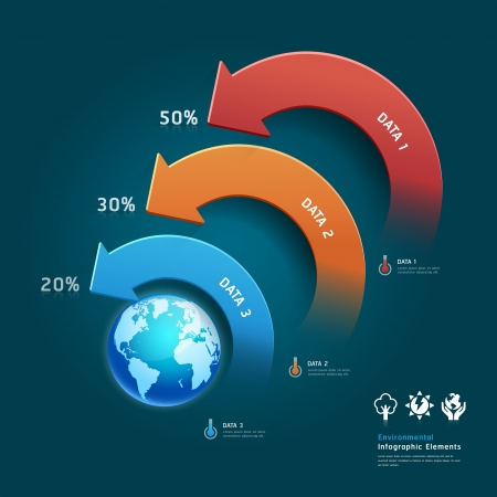 Environmental protection info graphic elements with global map  Vector
