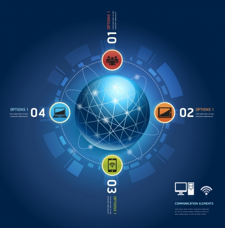 information technology icons: Global internet communication with orbits  Number Options template  Illustration