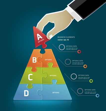 piramide humana: Empresario mano haciendo una pir�mide de la estrategia de negocio Opciones del rompecabezas diagrama