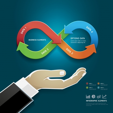 version: Businessman hand with business strategy diagram options in Infinity symbol