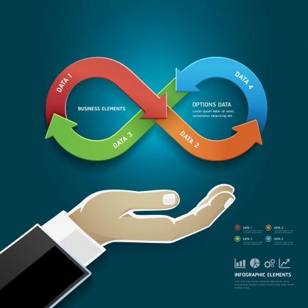 infinito simbolo: Mano de empresario con opciones de negocio diagrama de estrategia en el infinito símbolo Vectores