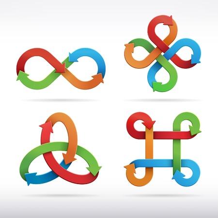 infinito simbolo: Colorful infinito icone simbolo illustrazione vettoriale Vettoriali