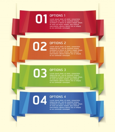 briefpapier: Colorful Origami Style Number Optionen Banner