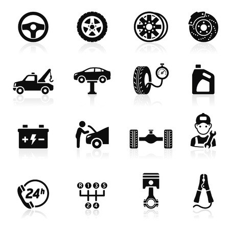 car tire: Car service maintenance icon