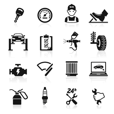 car garage: Car service maintenance icon  Illustration
