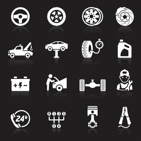 tyre: Car service maintenance icon set1.  Illustration